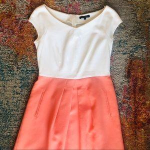 Tara Jarmon White and Coral Pink Dress